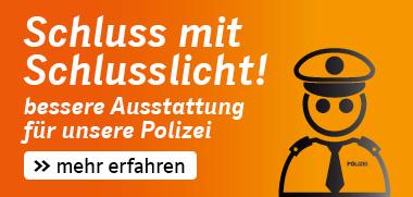 Schluss mit Schlusslicht! Unsere Polizei verdient eine bessere personelle und materielle Ausstattung, damit NRW nicht mehr die rote Laterne in der Kriminalstatistik hat und wir uns sicherer fühlen.